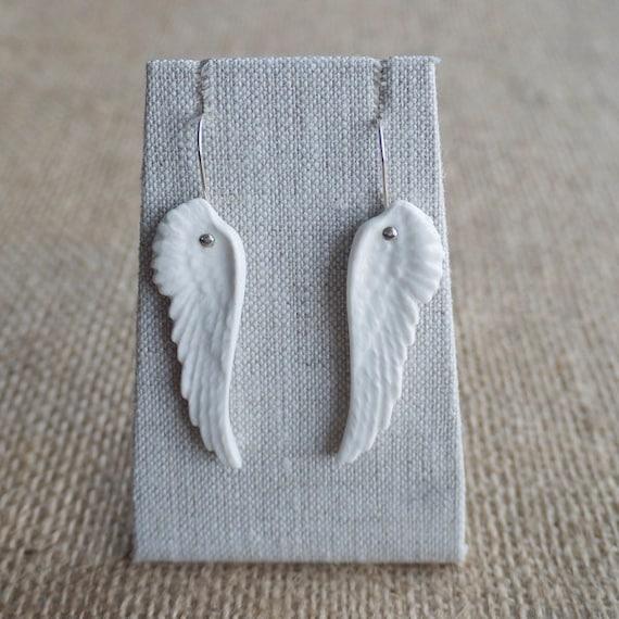 Porcelain Angel Wing Earrings, Bridal jewellery by Mrs Peterson Pottery