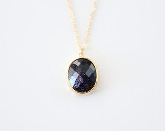 Galaxy Blue Glass Necklace - Ara - SALE