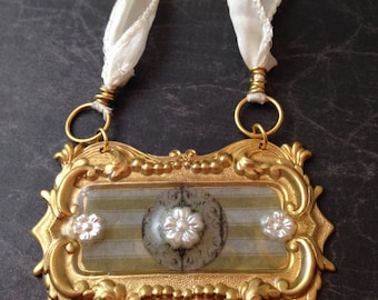 Victorian Brass and Pearl Necklace on Satin