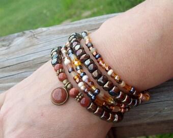 Dark Gypsy - Black Rainbow Bracelets - Stretch Bracelet Stack, beaded bracelets, goldstone pendant bracelet