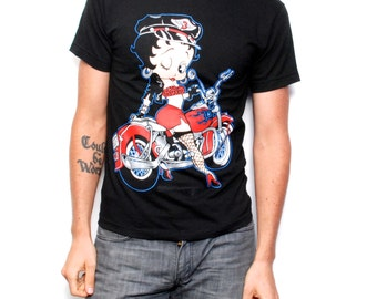 BETTY BOOP 80s deadstock biker babe COTTON t-shirt