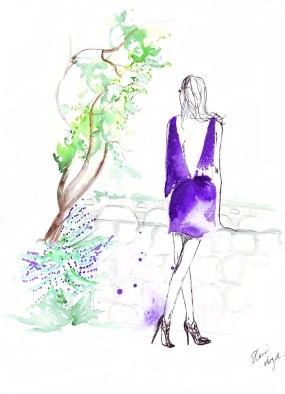 Watercolour Fashion Illustration Titled Daydreaming in Gaudi's Park