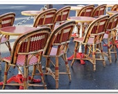 "Paris Photography - ""Early Morning Café Scene, Red and White Chairs"" - 5x7 Fine Art Photo by Lesley Sico"