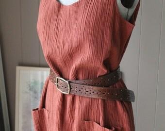 90s Cinnamon Wrinkle Linen Minimalist  Maxi Midi Dress Bubble Hem New Old Stock