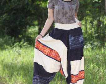 100 percent hemp Harem pants in natural white and blue with hand embriodery