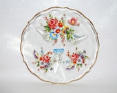Vintage Silver City Candy Dish - New Never Used - Tea Biscuit Plate -  Hand Painted Glass - Footed Plate -  Floral Design - Original Label