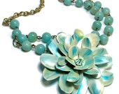Flower Statement Pendant, Upcycled Jewelry, Mint Aqua