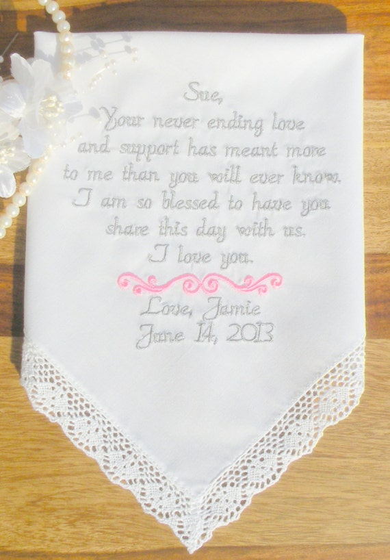 Wedding Gift Ideas Embroidered : StepMother wedding gift embroidered wedding hankerchief By Canyon ...