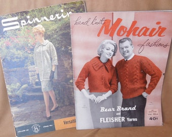 Vintage 60's Knit Pattern Books, Set of Two, Knit Patterns for Women, Men, Dresses, Sweaters, Rockabilly Pin Up Mad Men Style