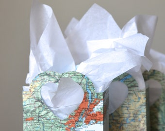 Vintage Map Heart Handled Gift Bags, custom colors available