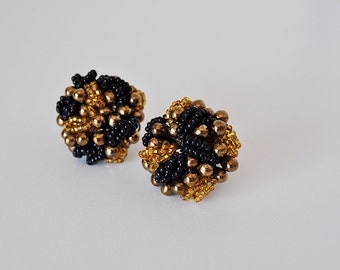 Vintage 50s Black and Gold Beaded Earrings