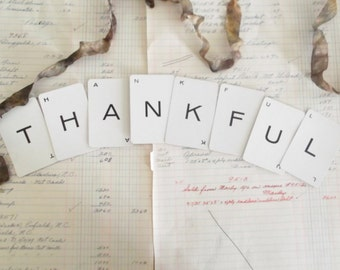Rustic Thanksgiving Banner Vintage Thankful Sign Autumn Decor Harvest Sign Fall Party Garland Rustic Farmhouse Decor