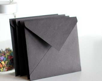 Black Square Envelopes, Matte Black, Various Square Envelope Sizes, Set of 12