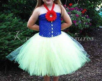Snow White Tutu Dress With Bow Headband - Size NB to 24 Months