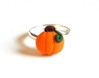 Halloween Fall Jewelry - Pumpkin Adjustable Ring - Polymer Clay - Handmade - Gifts Under 10, 15, 20