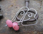 Sterling Silver Heart Earrings with pink, purple, white or blue gemstones.