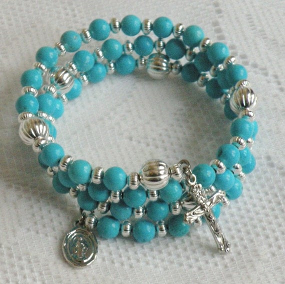 Five Decade Catholic Rosary Bracelet - Blue Chalk Turquoise with Silver Miraculous Medal
