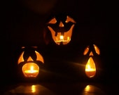 Jackolantern - Halloween Decor, Pumpkin Candle Holder, Luminary -Handmade on the Potters Wheel - Listing for 1 Jack - on the Left