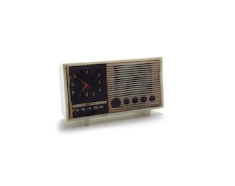 Miniature Radio for Doll House, Music, Melody, Black and White, Musical, Clock, Speaker, 60s