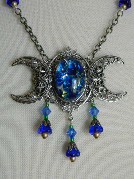 Lady Of The Lake Triple Moon Goddess Necklace By Crow Haven