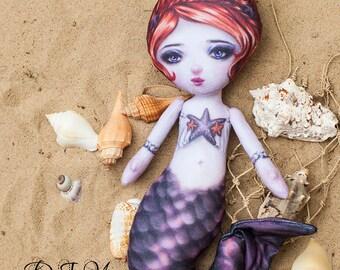 Shelley Stars - Printed Fabric Mermaid Cloth Doll Pattern - DIY Darling