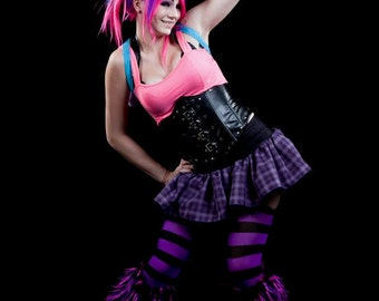 School girl micro mini skirt Adult tutu topper purple black dance costume halloween gogo roller durby - You chose size - SistersEnchanted