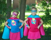Girl Personalized 4 piece SUPERHERO CAPE SET-With personalized cape and iron-on t shirt decal, mask, & arm bands