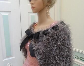 CAPE, : Sterling Grey Cape/shrug,  Elegant,  hand knitted,  fun fur with black grograin ribbon tie