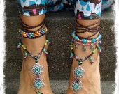 GYPSY summer BAREFOOT SANDALS soleless sandals beach wedding rainbow dance jewelry Flower Anklet foot jewelry bohemian shoes Brown toe thong