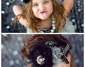 Friday Night Lights- black and metallic silver rosette, chiffon and lace bloom headband