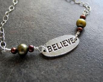 Sterling Silver Bracelet Pearls Believe Inspiration Oxidized Chain Wire Wrap Brown Green Earthy