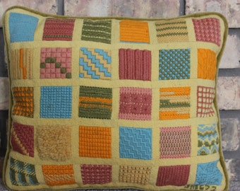 Vintage Yellow Bargello Needlepoint Sampler Pillow