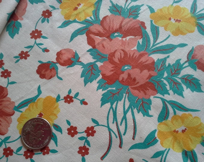 Vintage Cotton Fabric- 1940s Poppies Bright Floral- NOS