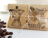 Adorable Bridal Shower Favors. Custom Party Favors. Freshly roasted coffee-Grounds for celebration. Set of 30.
