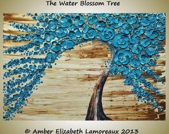 Fine Art Giclee Print of Original Impasto Painting Water Blossom Tree Amber Elizabeth Lamoreaux Turquoise Brown Modern Art