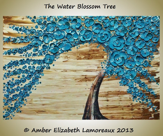 Fine Art Giclee Print of Original Impasto Painting Water Blossom Tree Amber Elizabeth Lamoreaux Turquoise Brown Modern Art