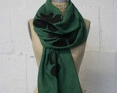 Green Cotton Scarves / Irish Green Clover Scarf / Kelly Green Shamrock Scarf / Lucky Four Leaf Clover