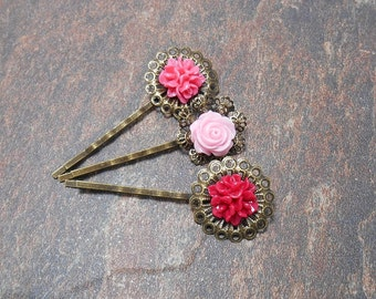 Set of 3 Pink Floral Bobby Pins - Clearance - Spring Hair Pins - Floral Hair Accessories