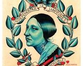 Vintage Americana, Susan B Anthony Tattoo Print