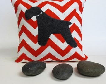 Grey Felt Schnauzer Pillow Cover with Bright Orange Green and White Chevron Zig Zag Fabric  - Decorative Accent Cushion