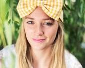 Yellow Gingham Bow Headband, Dolly Bow, Bow Headband, Rockabilly Pin Up Girl Headband, Oversized Bow Headband, Cute Gingham Headband