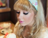 Mint Green Cupcake Wire Headband, Dolly Bow, 1950s Pin Up Rockabilly Hair Wrap, Twist Hair Scarf, Bandana, Cupcake Headband