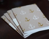 Pocket Size Small Blank Notebook / Sketchbook - Recycled Paper - Hand Bound in Cape Cod - Gold and White Anchors
