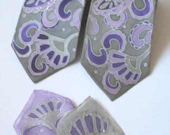 Custom wedding ties, Silk Neckties and Pocket Squares. Hand Painted Silk Accessories. Wedding Accessories. Groom's Tie.