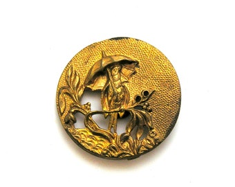 5 Victorian Brass Picture Buttons Bird Under Umbrella Set Gold Antique Sewing Instant Collection