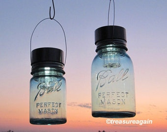 2 Hanging Mason Jar Solar Lights Ball Mason Jars, Quart, Pint, Blue Antique Hanging Outdoor Lanterns Handmade Upcycled Garden Lights