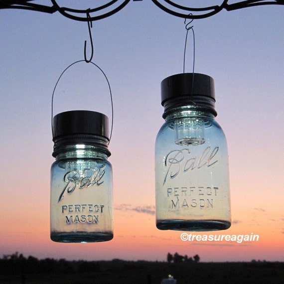 2 hanging mason jar solar lights ball mason jars by for Hanging lights made from mason jars