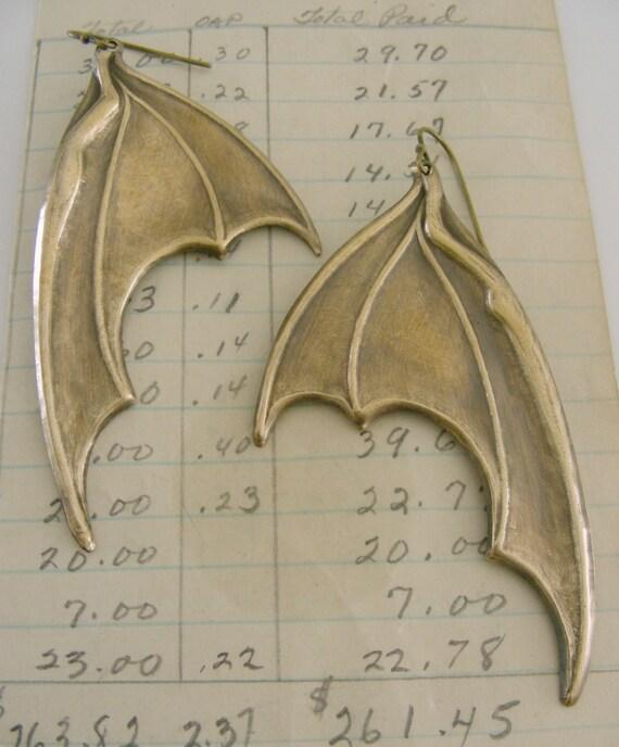 Vintage Earrings - Bat Earrings - Brass Earrings - Statement earrings - handmade jewelry