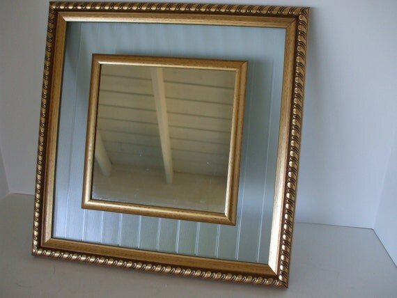 Hollywood regency framed wall mirrorfrosted glass french for Hollywood regency wall decor