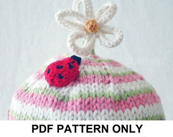Knitting Pattern - Ladybug Hat Knitting Pattern - the CLAUDIA beanie (Newborn, Baby, Toddler, Child & Adult sizes incl'd)